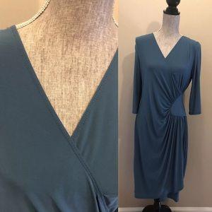 Kiyonna Faux Wrap Dress. Teal/Grey